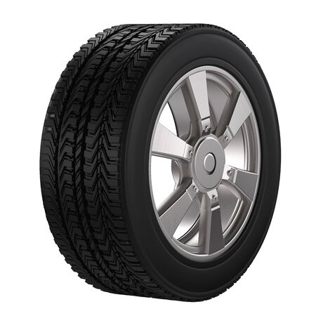 alloy wheel: 3d rendering black tire with alloy wheel isolated on white
