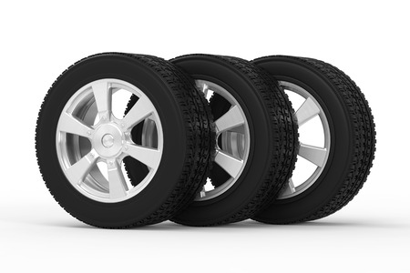 alloy wheel: 3d rendering black tire with alloy wheel in a row