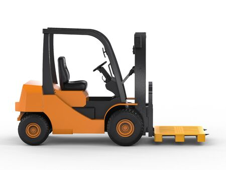 pallette: 3d rendering forklift truck with yellow pallet on white background
