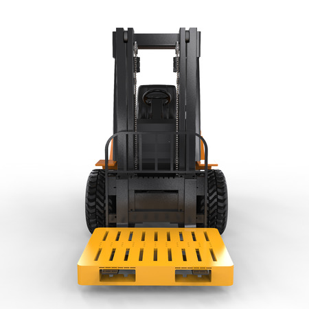 euro pallet: 3d rendering forklift truck with yellow pallet on white background