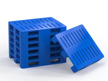 pallette: 3d rendering stack of blue plastic pallets on white background
