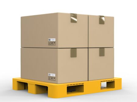 stockpile: 3d rendering stack of cardboard boxes on plastic pallet Stock Photo