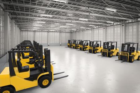 lading: 3d rendering forklift trucks in factory