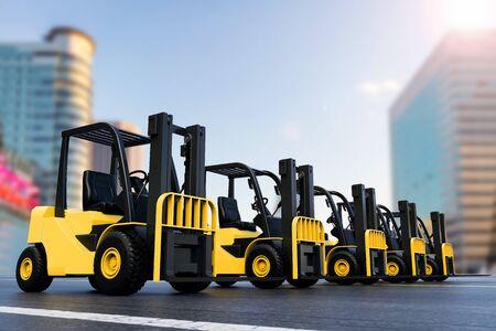 lading: 3d rendering forklift truck outdoor