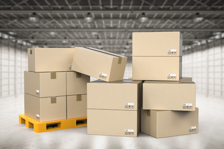stockpile: 3d rendering stack of cardboard boxes in factory Stock Photo