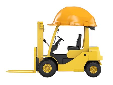 lading: 3d rendering forklift truck with yellow helmet isolated on white