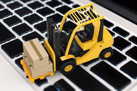 lading: logistic information concept with 3d rendering cardboard box on forklift