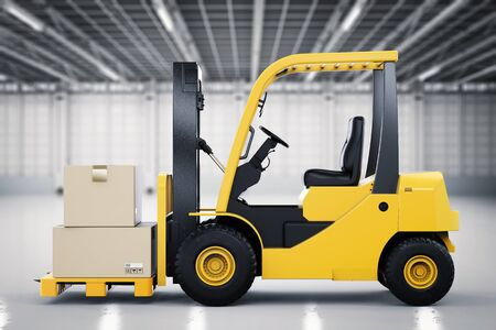lading: 3d rendering forklift truck with cardboard boxes in factory Stock Photo