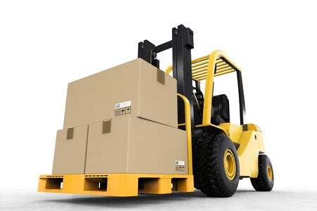 lading: 3d rendering forklift truck with cardboard boxes Stock Photo