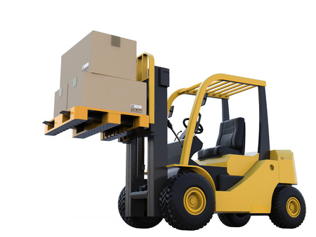 3d rendering forklift truck with cardboard boxes isoalted on white