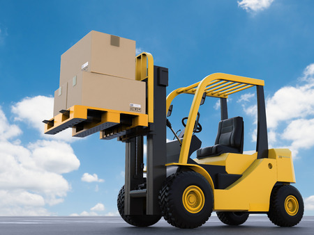 3d rendering forklift truck lifting with cardboard boxes
