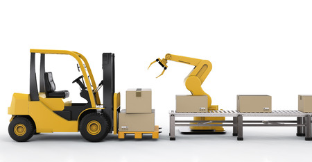 3d rendering forklift truck with robot arm and cardboard boxes Stock Photo
