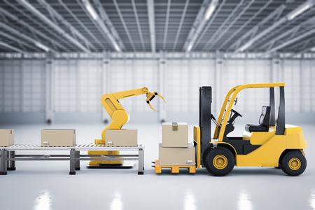 3D-rendering vorkheftruck met robotarm en kartonnen dozen