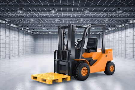 lading: 3d rendering forklift truck with yellow pallet in factory