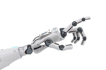 3 d レンダリング ロボットハンドに孤立したホワイトを指しています。