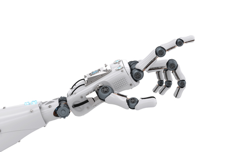 3D, rendu, robotique, main, pointage, isolé, blanc