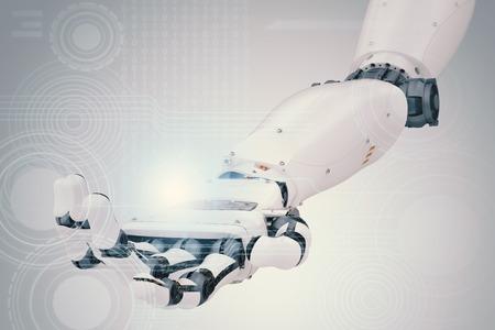 3d 렌더링 로봇 손으로 가상 그래픽 작업 스톡 콘텐츠