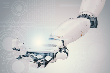 3d rendering robotic hand working with virtual graphic Stok Fotoğraf - 72813559