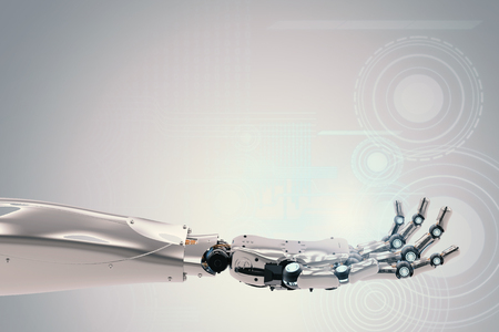 3d rendering robotic hand working with virtual graphic