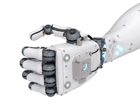 3d rendering robotic fist isolated on white