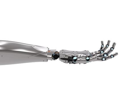 3d teruggevende robotachtige hand met open handpalm geïsoleerd op wit
