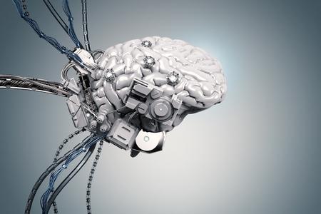 ワイヤーで 3 d レンダリング ロボット脳 写真素材