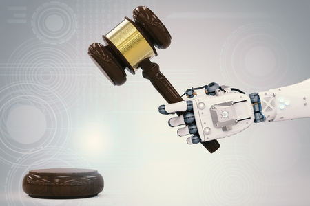 cyber law concept with 3d rendering robotic hand holding gavel judge