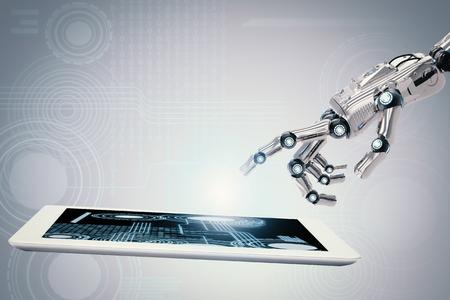 3D-rendering robotachtige hand werken met digitale tablet Stockfoto