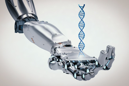 3d rendering robotic hand holding dna helix Фото со стока