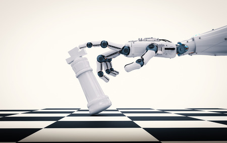 3d rendering robotic hand holding chess king