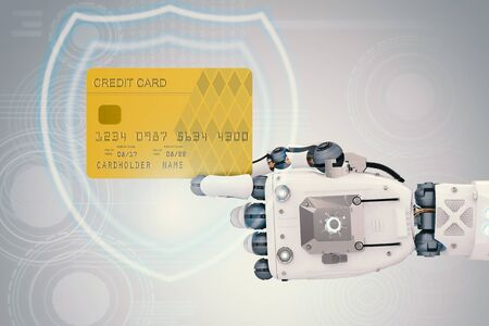 3d rendering robot hand holding credit card