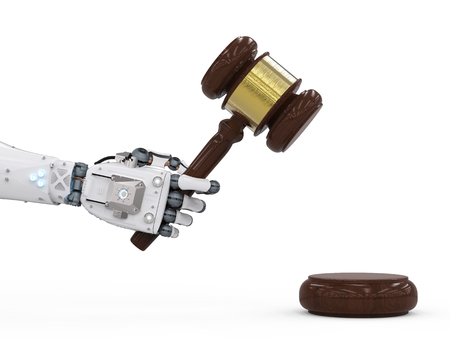 Concepto de ley cibernética con representación 3d juez de mazo mano robótica holding Foto de archivo - 72793551
