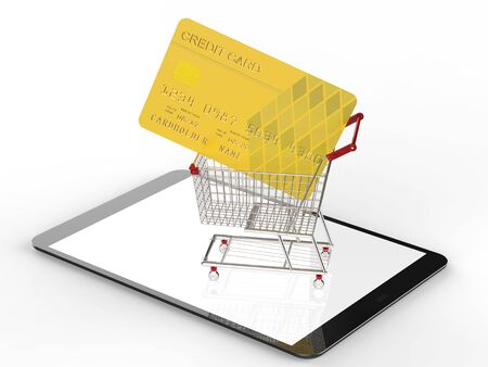 online shopping concept with 3d rendering shopping cart on digital tablet