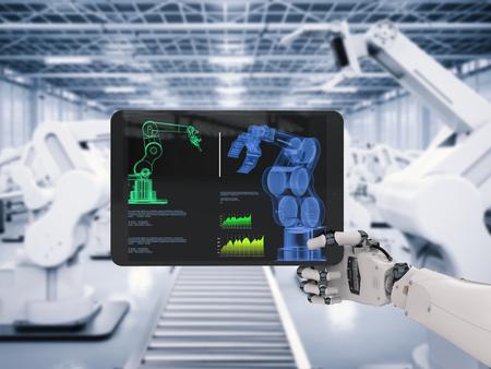 3 차원 디지털 태블릿 작업 로봇 손의 렌더링 스톡 콘텐츠