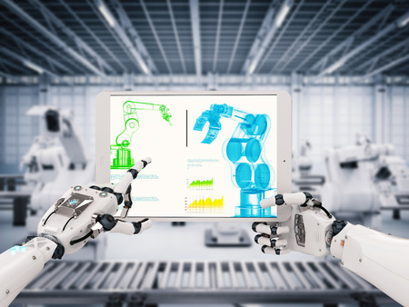 3d rendering robotic hand working with digital tablet Stock Photo
