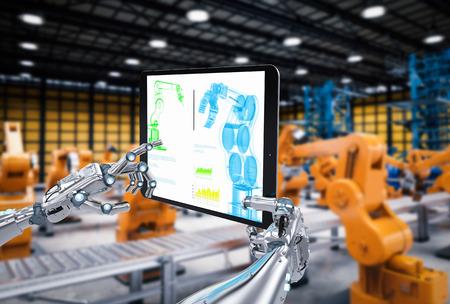 3d rendering robotic hand working with digital tablet Foto de archivo