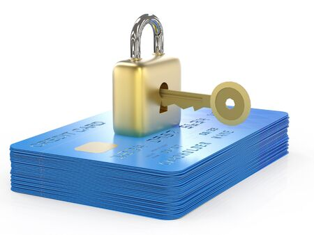 credit card data encryption concept with 3d rendering credit cards with padlock and key Stock Photo