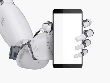 3d rendering robot hand holding blank screen mobile phone isolated on white Archivio Fotografico