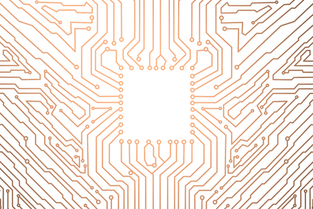 3d rendering empty square on copper circuit board