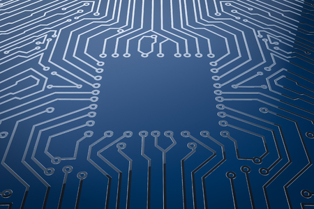 3d rendering empty square on blue circuit board