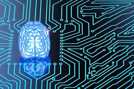 3d rendering shiny blue brain on circuit board Stock Photo