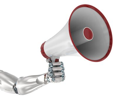 3d rendering robot hand holding megaphone isolated on white