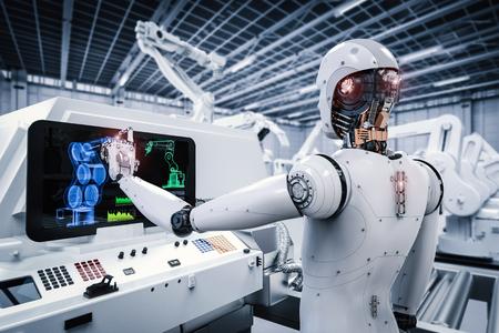 3d teruggevende robot die met monitor in fabriek werkt