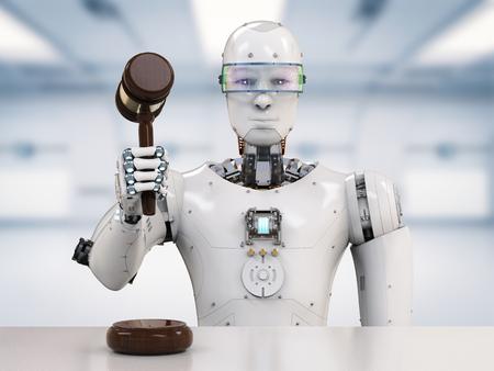 Procesamiento 3d robot celebración gavel juez Foto de archivo - 76172235