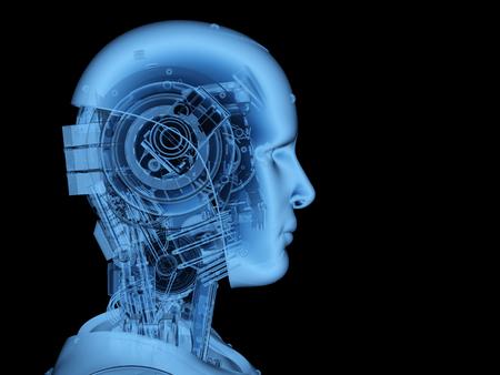 3D-rendering x-ray robot of cyborg op zwarte achtergrond