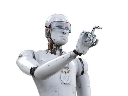 3d rendering white robot finger pointing on white background