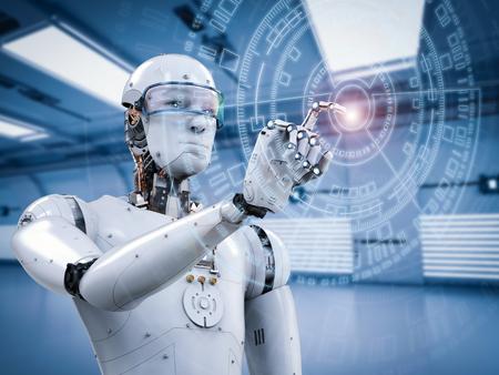 가상 디스플레이로 작업하는 3D 렌더링 로봇 스톡 콘텐츠