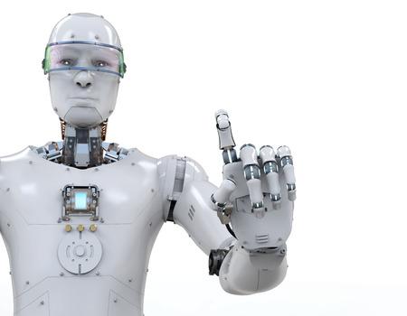 흰색 배경에 포인팅 3d 렌더링 흰색 로봇 손가락 스톡 콘텐츠 - 76172271
