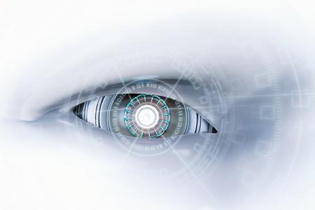 3d rendering cyborg occhio con visualizzazione virtuale Archivio Fotografico - 76171798