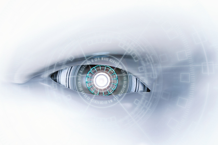 3D-rendering cyborg oog met virtuele weergave